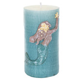 Turquoise Mermaid Pillar Candle